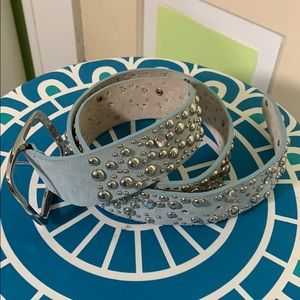 BLING BELT HORSE SHOW RODEO READY LARGE LIGHT BLUE